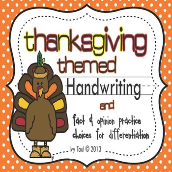 Thanksgiving Handwriting & Reading Skill Practice {Differe