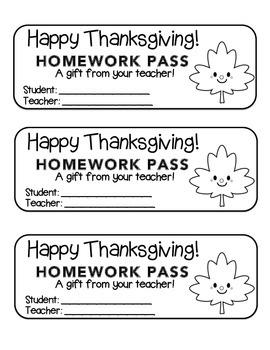 """Thanksgiving"" Happy Leaf 2 - Homework Pass –Holiday FUN!"