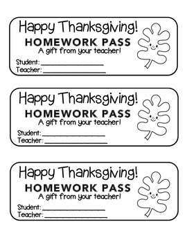 """Thanksgiving"" Happy Leaf 3 - Homework Pass –Holiday FUN!"