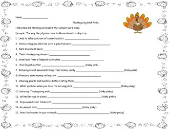 Thanksgiving Hink Pinks Vocabulary Riddles