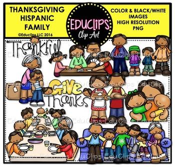 Thanksgiving Hispanic Family Clip Art Bundle