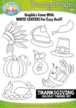 Thanksgiving Holiday Themed Tracing Image Clipart Set — In