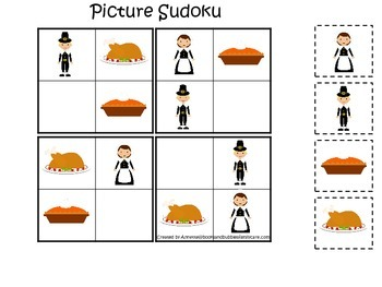 Thanksgiving Holiday themed Picture Sudoku preschool learn