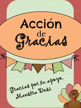 """Thanksgiving """"I am thankful for"""" / Acción de Gracias """"Doy"""