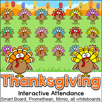 Thanksgiving Activities Interactive Attendance for All Whi