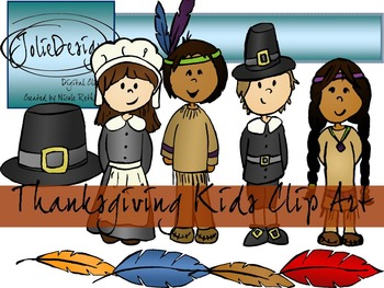 Thanksgiving Kids Clip Art Pack- Color and Line Art 16pc set