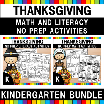 Thanksgiving  Kindergarten Language Arts and Math Workshee