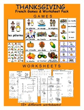 Thanksgiving / L'action de Grace FRENCH Worksheets and Games Pack