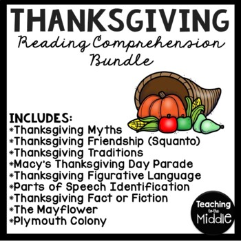 Thanksgiving Language Arts Bundle; Reading Comprehension,