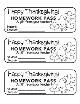 """Thanksgiving"" Leave Friends - Homework Pass –Holiday FUN!"
