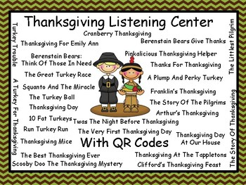 Thanksgiving Listening Center With QR Codes (28 books)