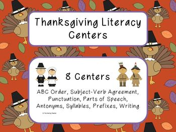 Thanksgiving Literacy Centers: 8 Skill Based Reading and L