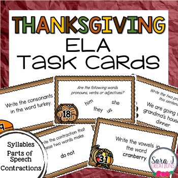 Thanksgiving ELA Task Cards