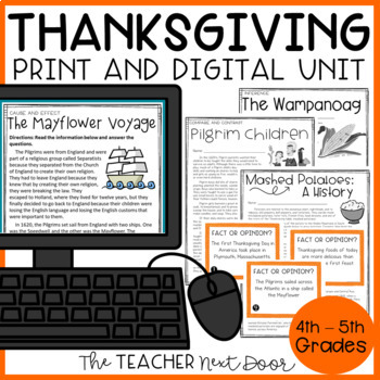 Thanksgiving Literacy Unit for 4th - 5th Grade
