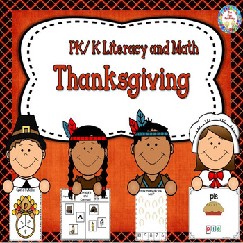 Thanksgiving Literacy and Math Center Activities and Works