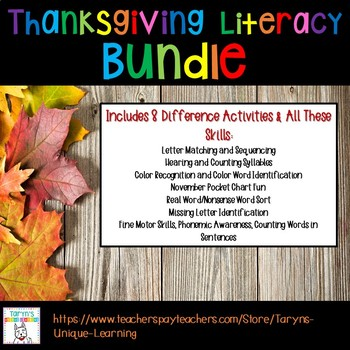 Thanksgiving Literacy for Emergent Readers
