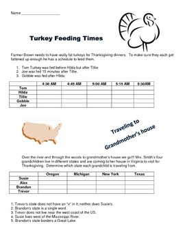Thanksgiving Logic Puzzles and Venn Diagram