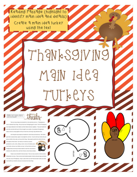 Thanksgiving Main Idea Turkey