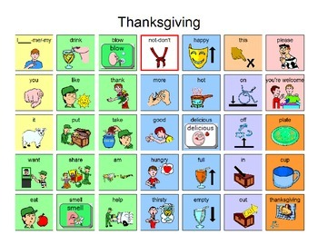 Thanksgiving Manual board 35 location for AAC Users