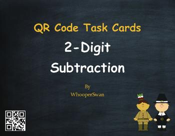 Thanksgiving Math: 2-Digit Subtraction QR Code Task Cards