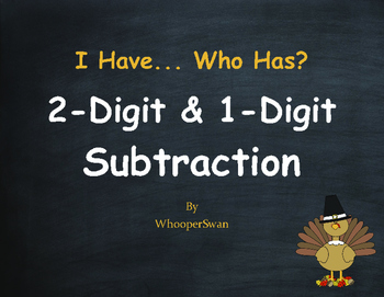 Thanksgiving Math: 2-Digit and 1-Digit Subtraction - I Hav