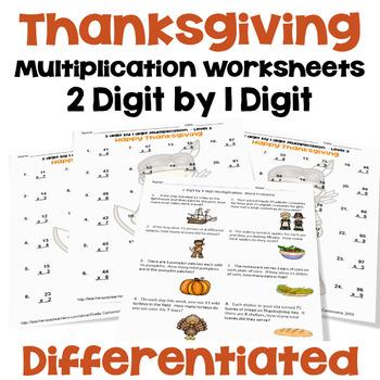 Thanksgiving Math - 2 digit by 1 digit Multiplication Work