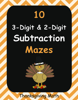 Thanksgiving Math: 3-Digit and 2-Digit Subtraction Maze