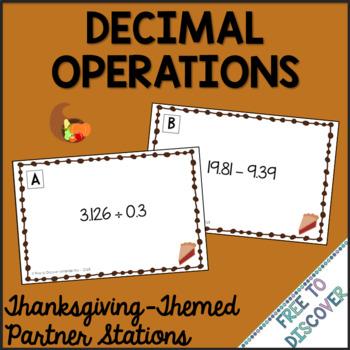 Thanksgiving Math Activity - Decimal Operations