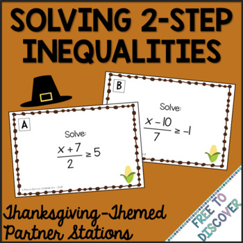 Thanksgiving Math Activity - Solving 2-Step Inequalities
