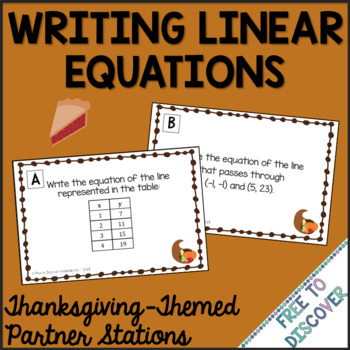 Thanksgiving Math Activity - Writing Linear Equations by Free to Discover