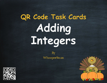 Thanksgiving Math: Adding Integers QR Code Task Cards