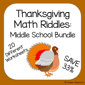 Thanksgiving Math Riddles: Middle School Bundle
