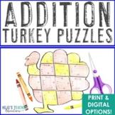 Thanksgiving Math Centers: Addition Turkey Puzzles