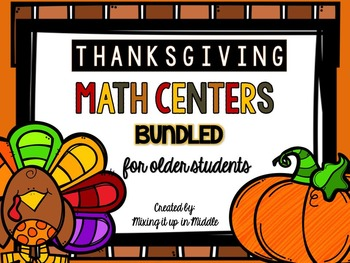Thanksgiving Math Centers BUNDLED:  WORD PROBLEMS TASK CAR