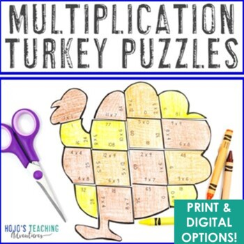 Thanksgiving Math Centers: Multiplication Turkey Puzzles
