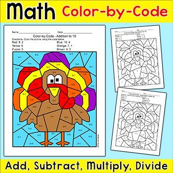 Thanksgiving Math Color by Code: Thanksgiving Turkey Morni