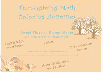 Thanksgiving Math Coloring Activities: 4th Grade