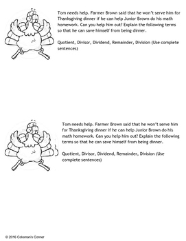 Thanksgiving Math (Division) Writing Prompt