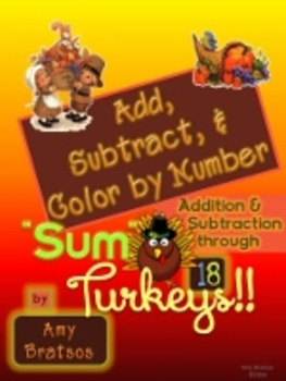 Thanksgiving Math Facts Practice - Addition & Subtraction 1-18