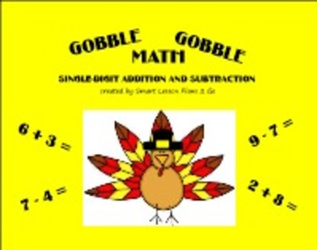 Thanksgiving Gobble Gobble Math Facts -Primary Smartboard