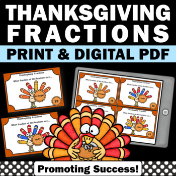 Thanksgiving Math Games & Activities FRACTIONS 3rd Grade M