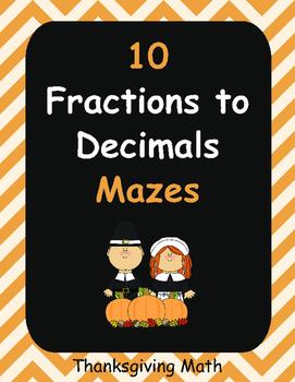 Thanksgiving Math: Fractions to Decimals Maze