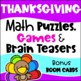 Thanksgiving Math Games, Puzzles and Brain Teasers