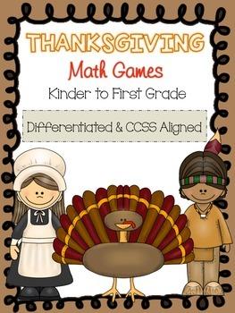 Thanksgiving Math Centers for Kindergarten and First Grade