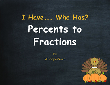 Thanksgiving Math: I Have, Who Has - Percents to Fractions