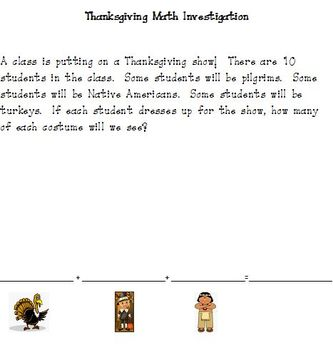 Thanksgiving Math Investigation: Using 3 Addends to Create