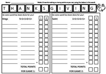 Thanksgiving Math & Language Word Making Years 3-5