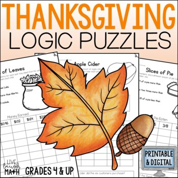 Thanksgiving Math Logic Puzzles {Thanksgiving Activities}