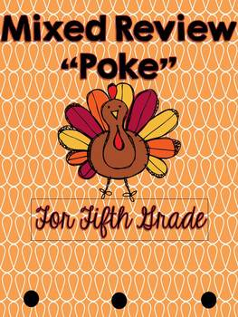 Thanksgiving Math - Mixed Review Poke for Fifth Grade