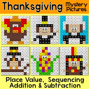 Thanksgiving Math Place Value, Addition and Subtraction Th